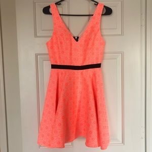 Dolce Vita Neon Coral Dress with Cut Outs